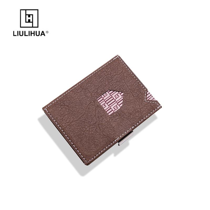 Slim porte-cartes de banque porte-monnaie en cuir véritable portefeuilles d'affaires court sac à main porte-carte voyage hommes portefeuilles mode carte portefeuille