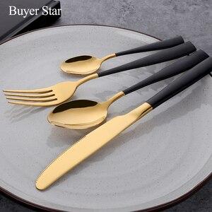 Image 3 - Бесплатная доставка BlackGold Western нержавеющая сталь набор ножей столовые приборы суповая ложка стейк нож обеденный набор вилок столовые приборы для отеля