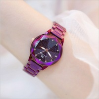 Hot Sale Starry Sky Dial Crystal Women Watches Colorful Quartz Ladies Watch Multi Cutting Surface Mirror Girl Watch Reloj Mujer