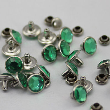 100 Sets 7MM Green Acrylic Crystal Rhinestone Rivets Rapid Silver Nailhead Spots Studs DIY Shipping Free