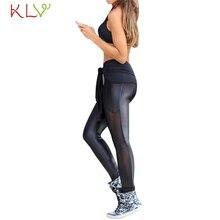 KLV Fish SunDay Women Mesh Patchwork Yoga Pants Elastic WorkOut Fitness Sport Legging Trousers Levert Dropship Mar29