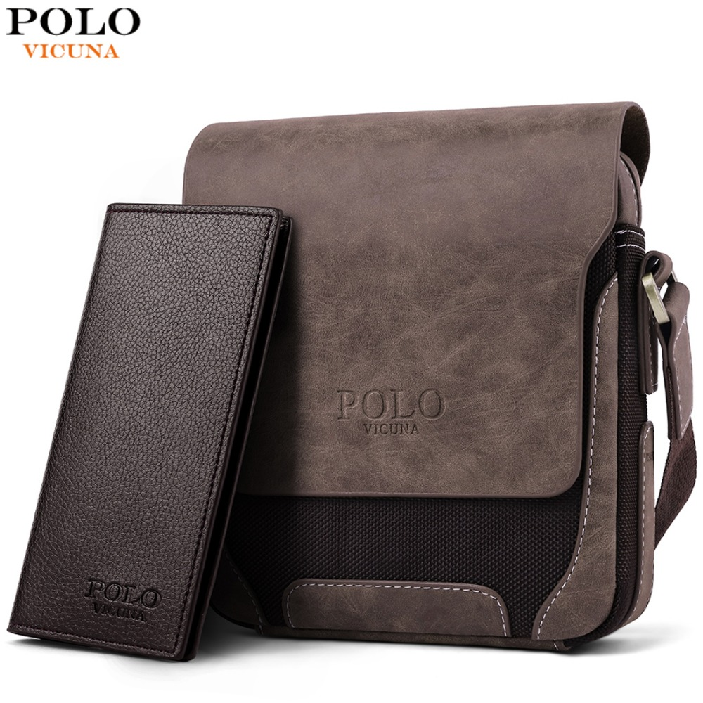 Bild von VICUNA POLO Vintage Casual Patchwork Durable Oxford Man Bag With Leather Cover Fashion Mens Travel Bag Fashion Crossbody Bag Man