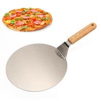 Нож для пиццы Лоток для выпечки Нержавеющая сталь весло Круглый с деревянной ручкой для выпечка пиццы и торт на пиццу каменная печь и гриль