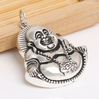 Handcrafted 925 Silver Tibetan Laughing Buddha Pendant vintage sterling silver Happy Buddha Amulet Pendant