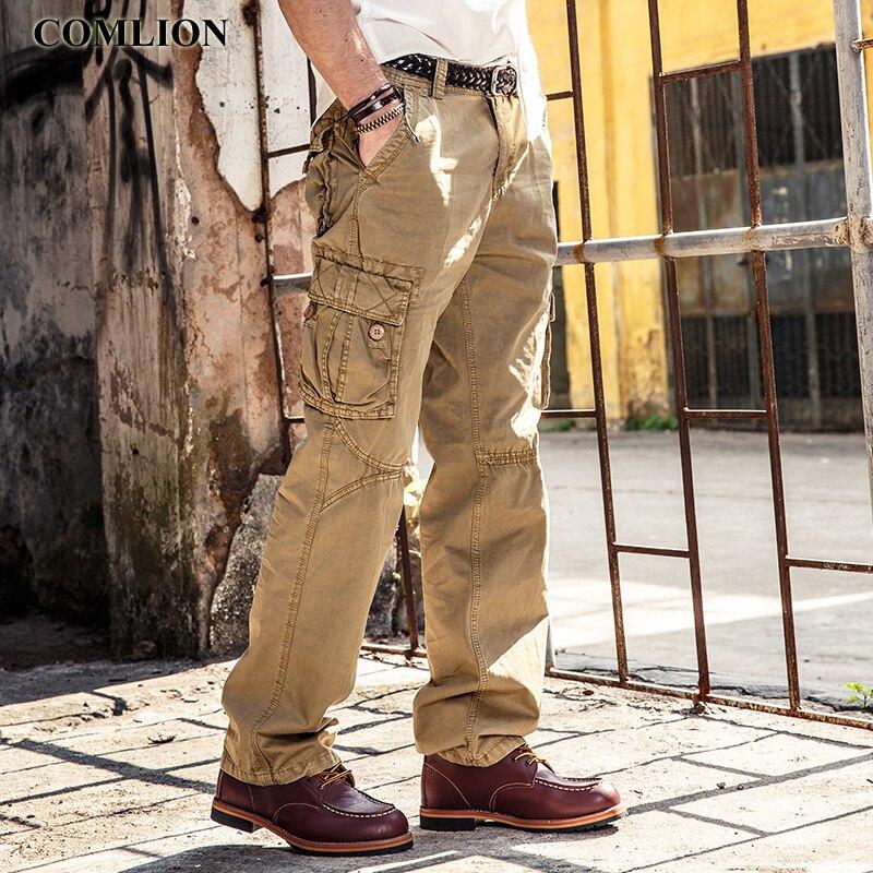 Besorgt Hohe Qualität Mens Cargo Hosen Beiläufige Kurze Hose Männer 2018 Neue Multi Taschen Military Stil Overalls Mode Lange Hosen Plus Größe F38