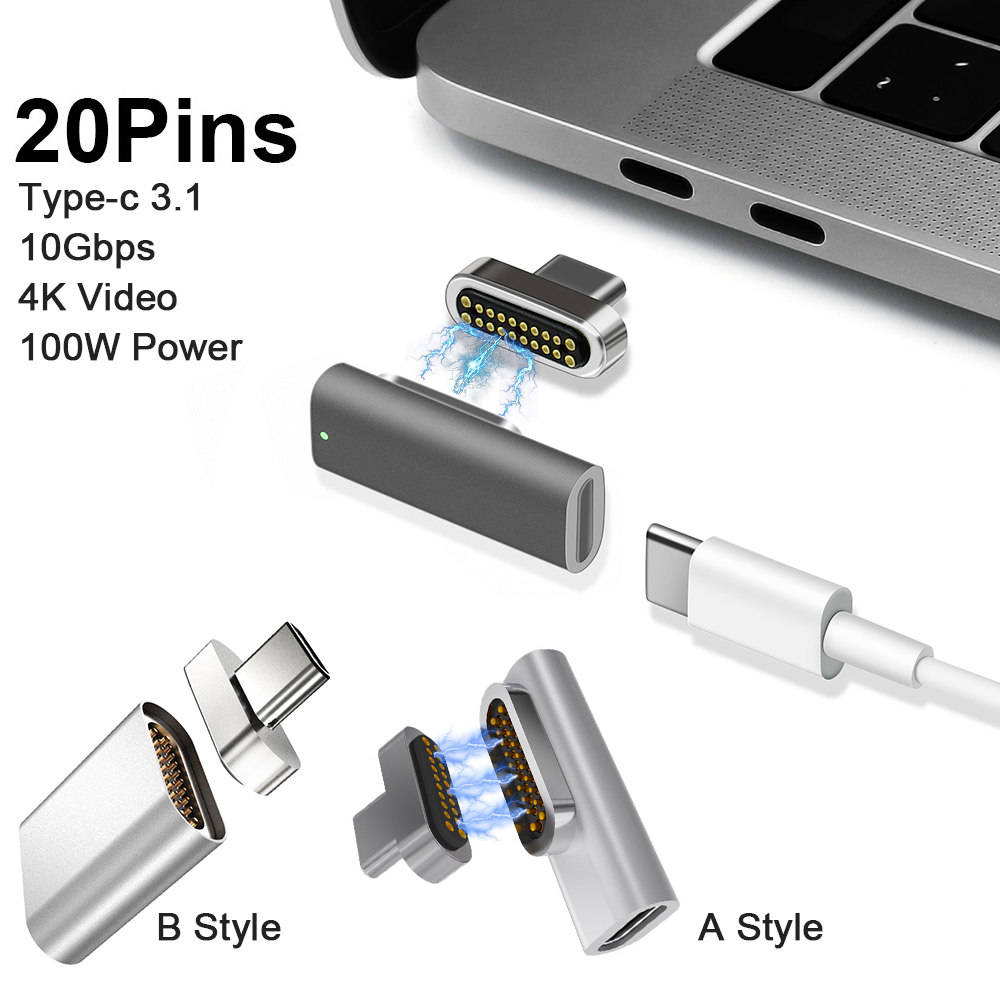 Magnetic USB C Adapter 20Pins Type C Connector USB PD 100W Quick Charge 10Gbp/s Data For MacBook Pro/Air And More Type C Device
