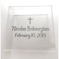 Venta Caja acrílica de bautizo caja de recuerdo griego caja de regalo de aniversario de bautismo 30x30x15CM