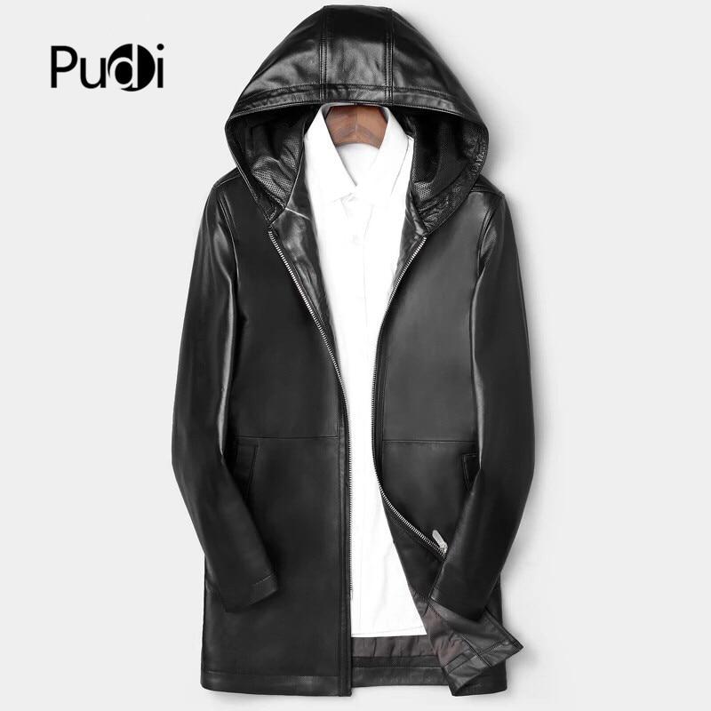 Manteaux Pour Cuir Pudi Long Mt911 Hommes Véritable De Veste Homme Nouvelle Mouton Outwear Mode Peau Black Capuche En Moyen Et 2019 W2YHD9EI