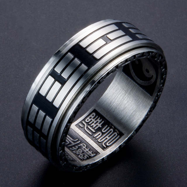 8mm Men's Stainless Steel Chinese Style Religious Rings Yin Yang Symbol  Gossip Transfer Spinner Finger Band