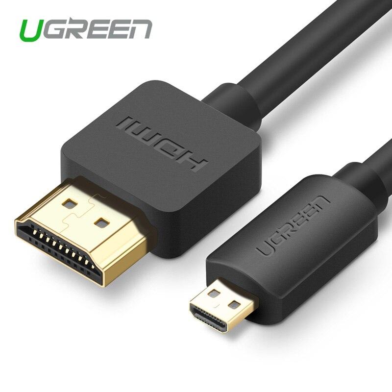 Ugreen Micro HDMI para HDMI Cable1.5m 2m 3m 3D 4K * 2K Macho-Macho Alta prémio de Ouro-banhado a Câmera Adaptador HDMI para o Telefone Tablet HDTV