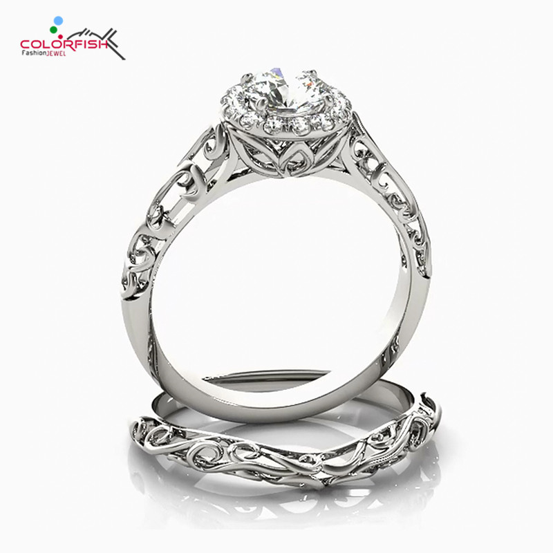 COLORFISH Antique 1/2 CT Round Cut Halo Engagement Ring Set Genuine 925 Sterling Silver Vintage Women Jewelry Bridal Ring Set