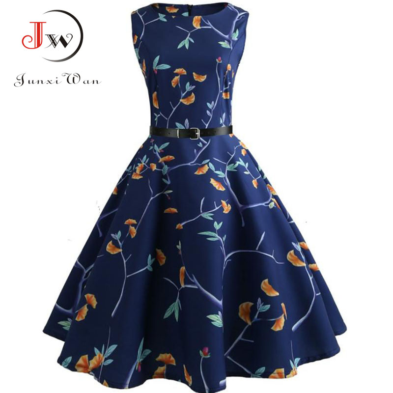 Floral Print Summer Dress Women  Vintage Elegant Swing Rockabilly Party Dresses Plus Size Casual Midi Tunic Runway Dress 1