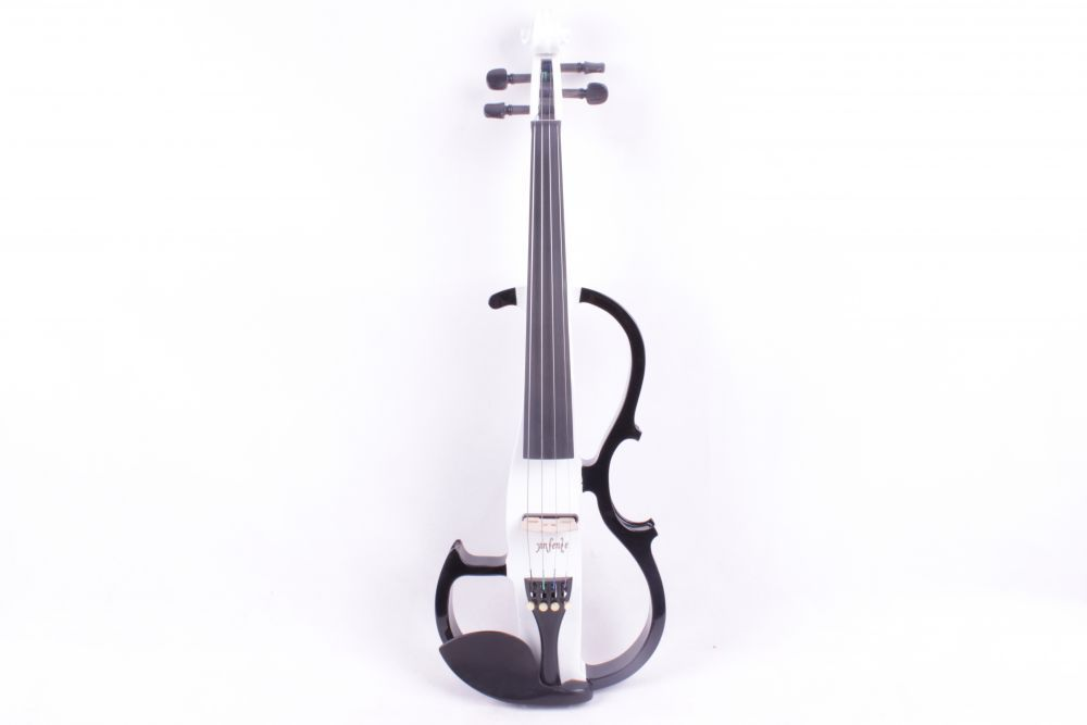 4/4 4   string  black   and  white  color  Electric violin High quality 6.5 big pickup one red 4 string 4 4 violin electric violin acoustic violin maple wood spruce wood big jack color