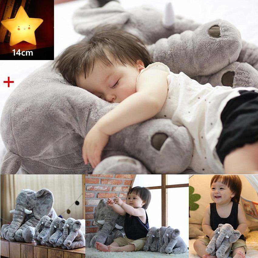 40/60 CM Baby Kissen Elefanten Mit Schlaf Licht Kind Sitzkissen Elefanten Stofftier Puppe Neugeborenen Kind Schlafen Rückenkissen