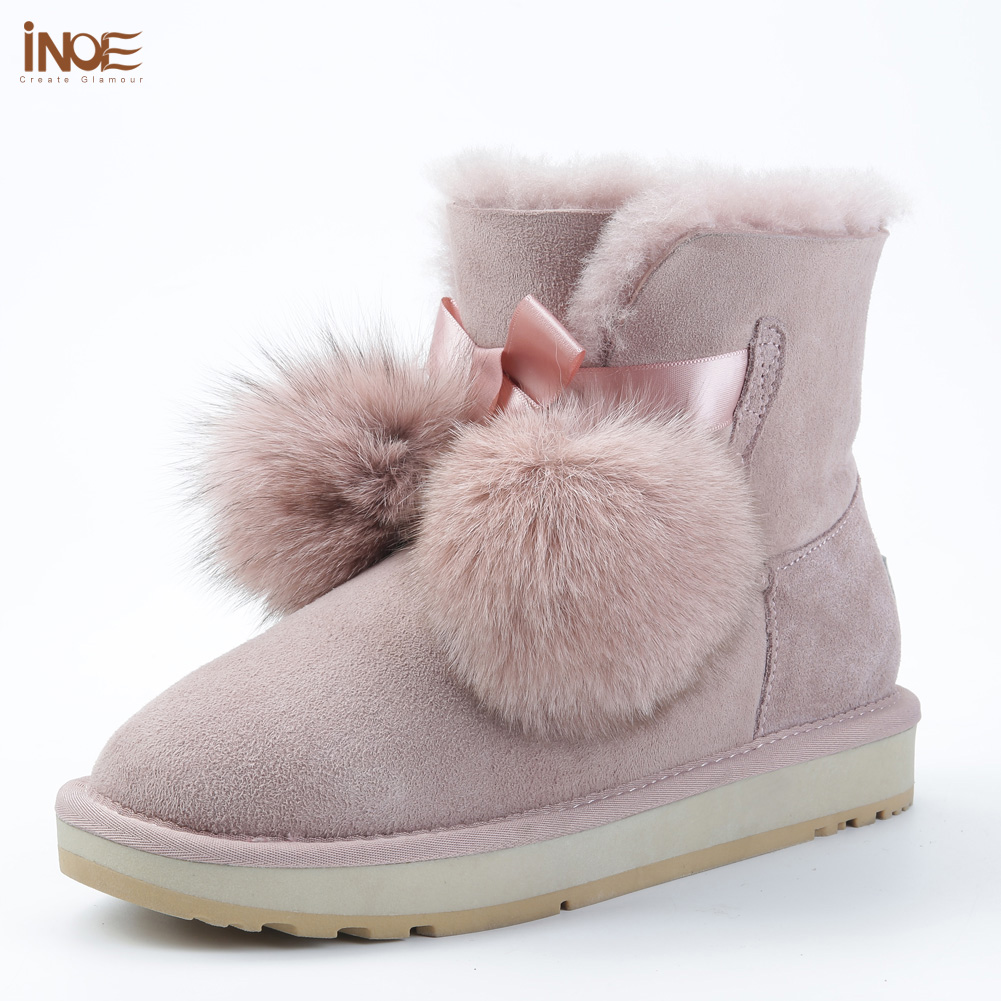 INOE Sheepskin Suede Leather Shearling Wool Fur Lined Women Short Winter Boots Pom pom Style Ankle