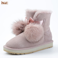 INOE 2018 New arrival sheepskin leather fur lined women winter suede snow boots pom pom style ankle winter shoes for sweet girls