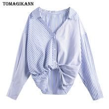 цены на Striped Patchwork Blouse Shirt Women Tops 2019 Korean Hem Knot Front Short Back Long Feminina blusas Chemisier Femme  в интернет-магазинах