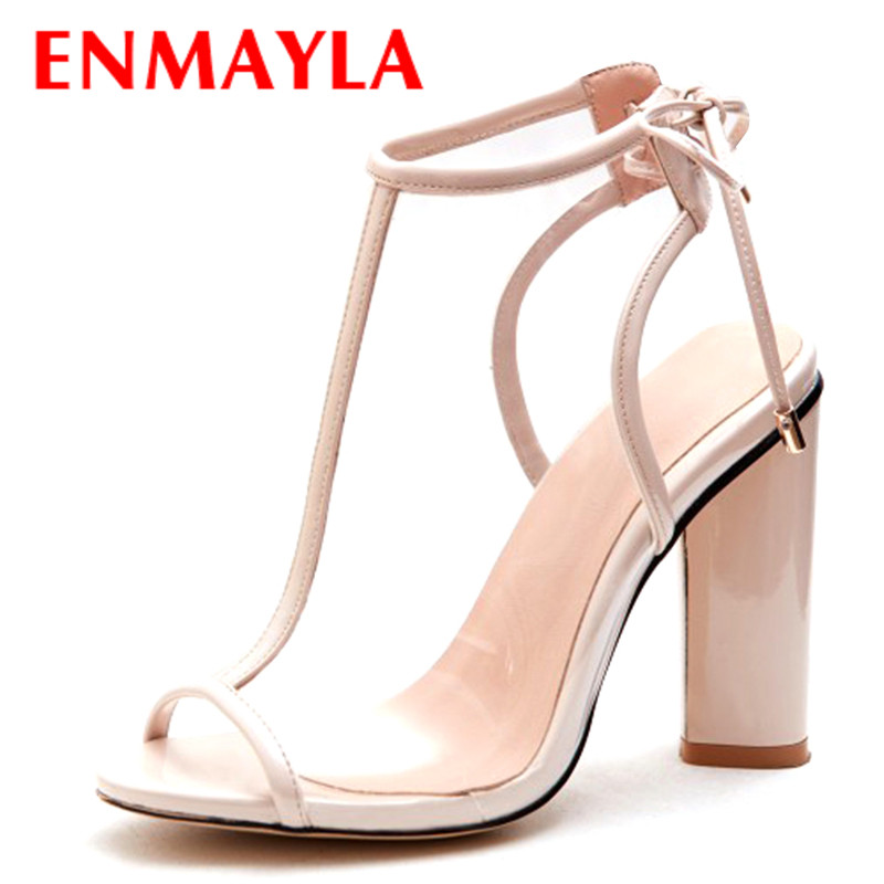 ENMAYER High Heels Pumps Shoes Woman Transparent Style Slingbacks Shoes Plus Size 34-43 Peep Toe Party Wedding Pumps Shoes enmayer cross tied shoes woman summer pumps plus size 35 46 sexy party wedding shoes high heels peep toe womens pumps shoe