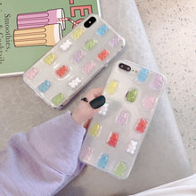For iPhone x Case Cute 3D Gummy Bear Candy Color Soft Cases For iPhone X 6 6S 7 8 Plus XS Max XR Glitter TPU Cover Female funda(China)