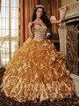 Luxo vestido de Baile Querida Cristal Rhinestone Beads Ruffles Organza Longo Ouro Quinceanera Partido Prom Vestido 2014
