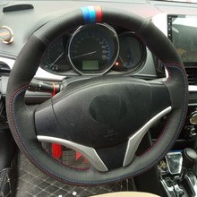 Top Layer Leather+Nubuck Leather Handmade Sewing Steering Wheel Covers Protect For Toyota Vios YARiS