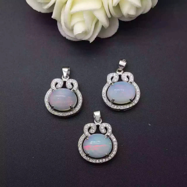 natural opal stone pendant S925 silver Natural gemstone Pendant Necklace trendy  elegant Lucky ingot Tau women party jewelry