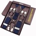 Suspensórios dos homens novos Moda Casual Cinto de Alta Qualidade 6 clips Suspensórios Suspensórios De Couro Ajustável Tirantes 3.5*120 cm