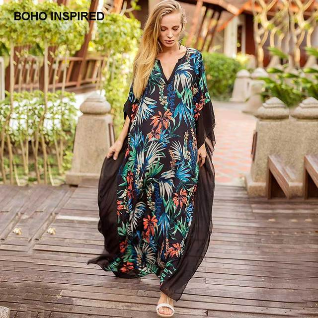 7dcc45eeab Boho Inspired tropical floral Print summer Kaftans dress batwing sleeve  V-neck ruffles beach tunic