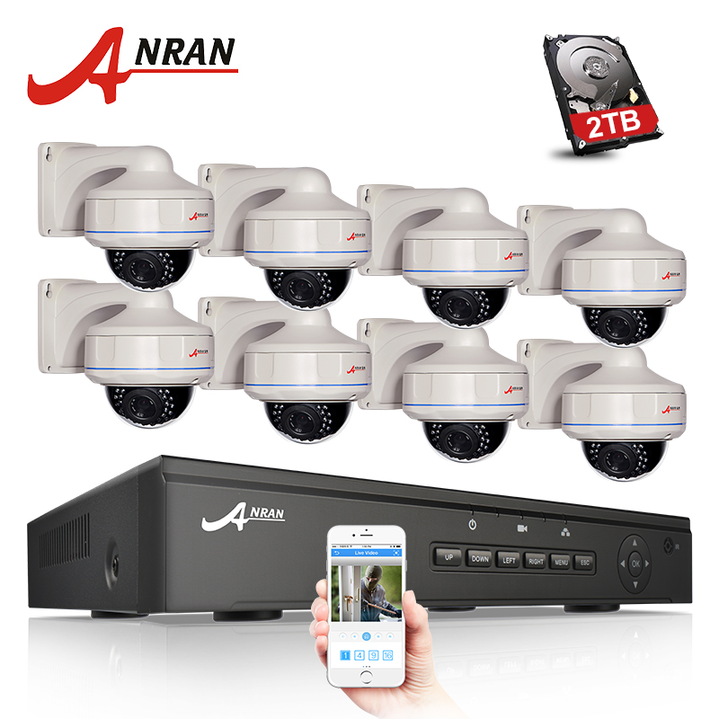 все цены на ANRAN Plug And Play 8CH NVR POE CCTV System 1080P HD Vandalproof Dome IR Night Vison Security Surveillance Camera Kit онлайн