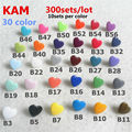 ( 30 cores ) 300 conjuntos T5 tamanho 20 da forma do coração brilhante Original KAM marca plástico botão Snap Snaps fixador