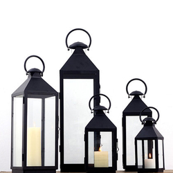 Black white European restoring ancient Candlestick wrought iron glass Candle Holder romantic wedding Christmas Decoration
