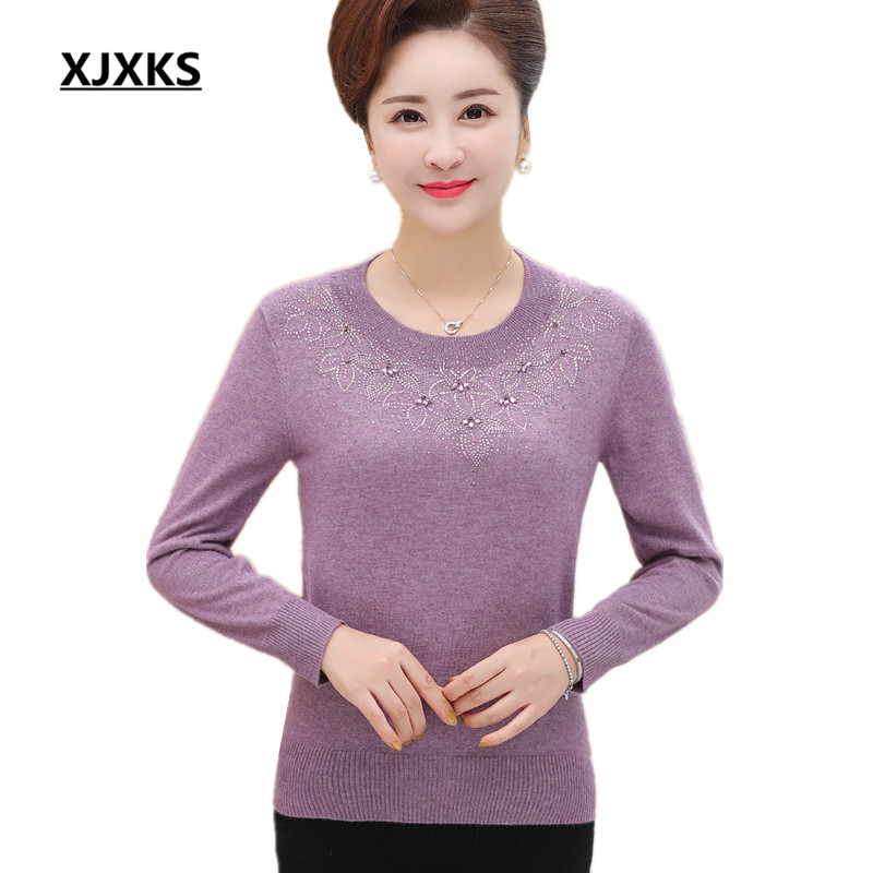 fcba09702b13 Aliexpress.com   Buy XJXKS Women cashmere sweater pullover 2018 autumn and  winter new loose large size fashion beaded women knit bottoming shirt from  ...