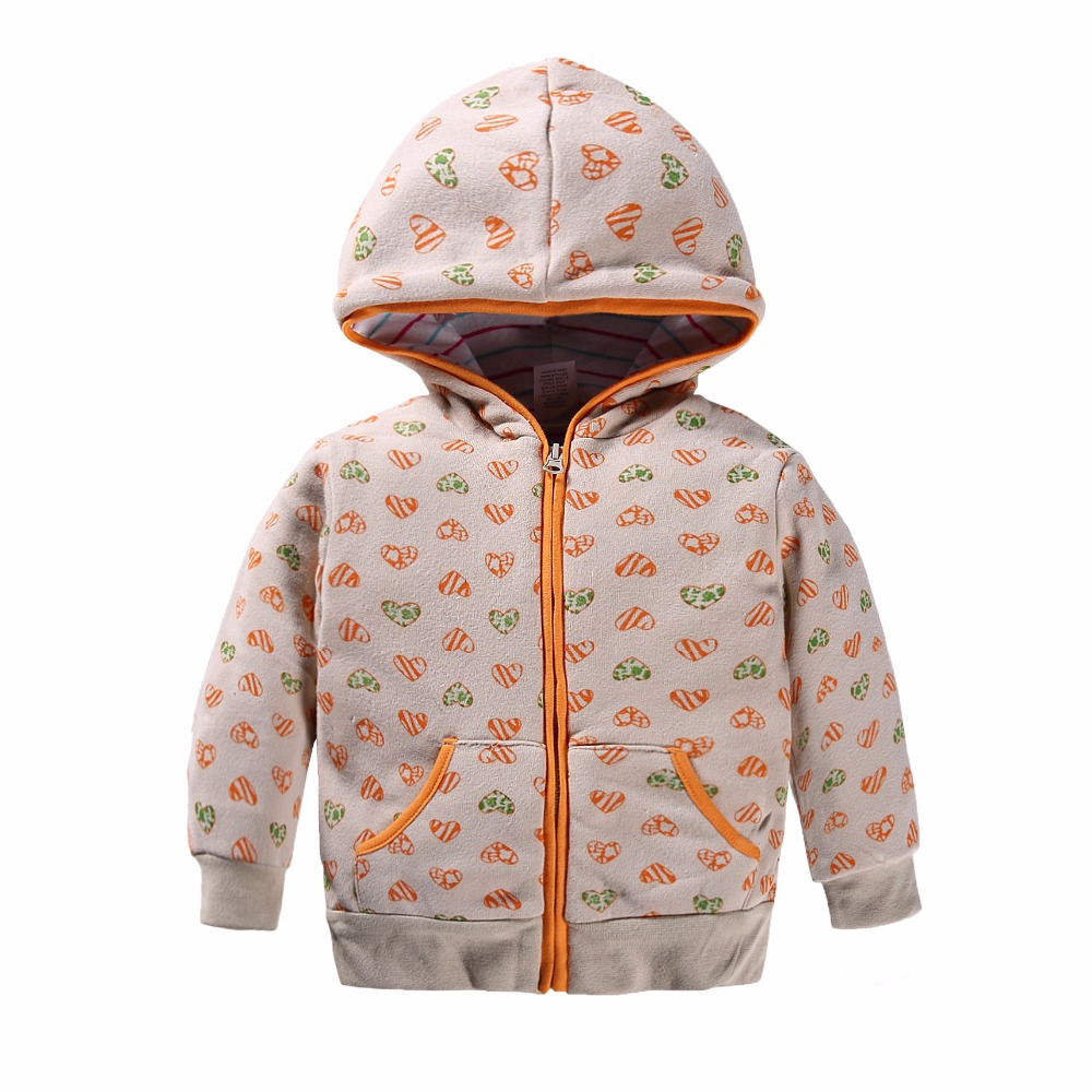 100% Cotton 1-5 yrs jacket for girls baby girl clothes Love printed hoodies kids baby Long sleeves Zipper hooded Sweatshirts