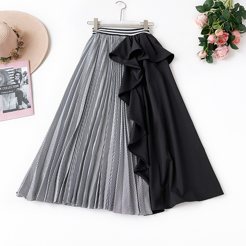 AcFirst Spring Blue Black Women Skirt A Line Casual Ankle Length Long Skirt Asymmetrical Clothing Sexy Sweet Sexy Long Skirts in Skirts from Women 39 s Clothing