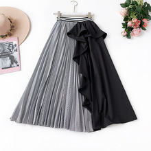 AcFirst Spring Blue Black Women Skirt A-Line Casual Ankle-Length Long Asymmetrical Clothing Sexy Sweet Skirts