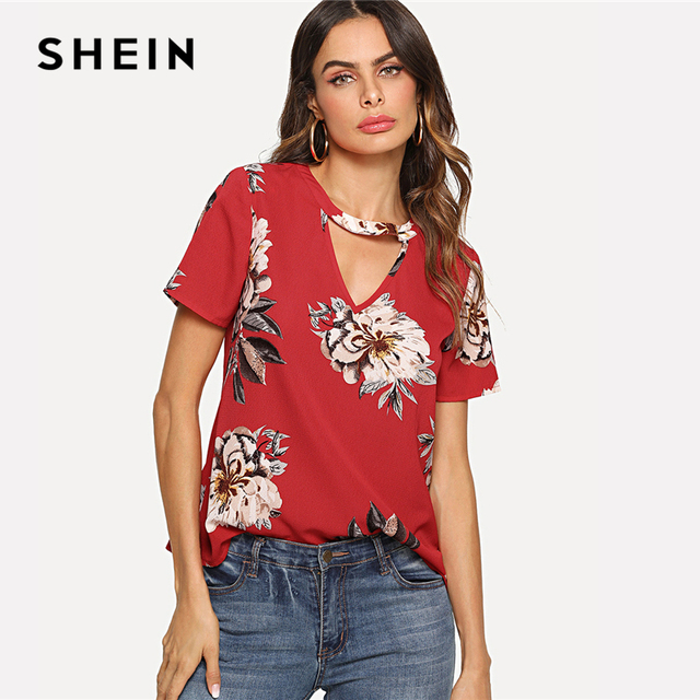 9e810736fd SHEIN Red Elegant V Cut Neck Keyhole Back Floral Print Short Sleeve Button  Blouse Summer Women