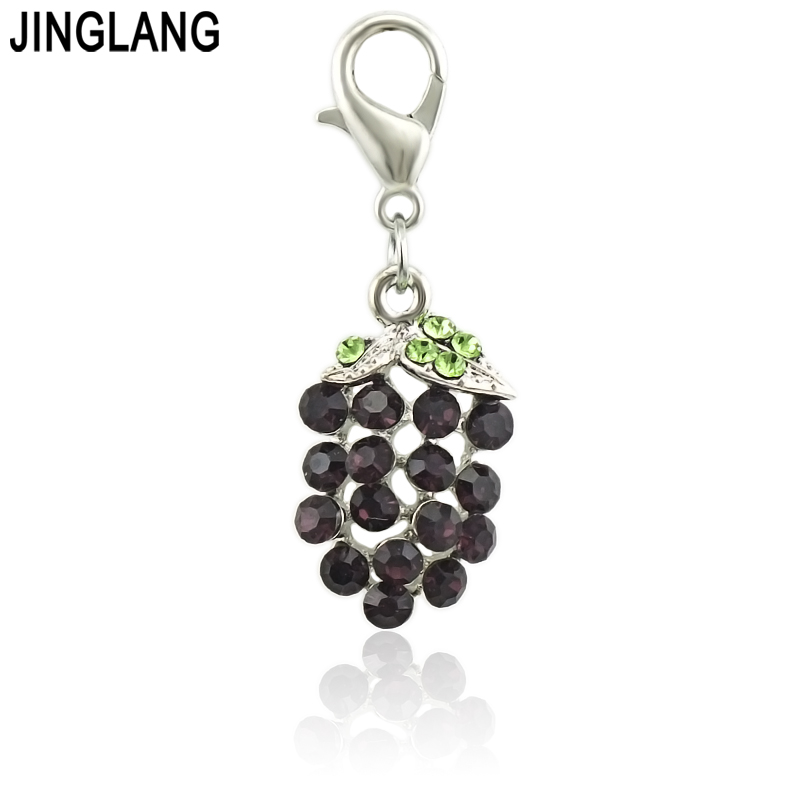 JINGLANG Mini Style Color Grapes Charms For Jewelry DIY Making Cute Small Fruit Pendants 1 Psc