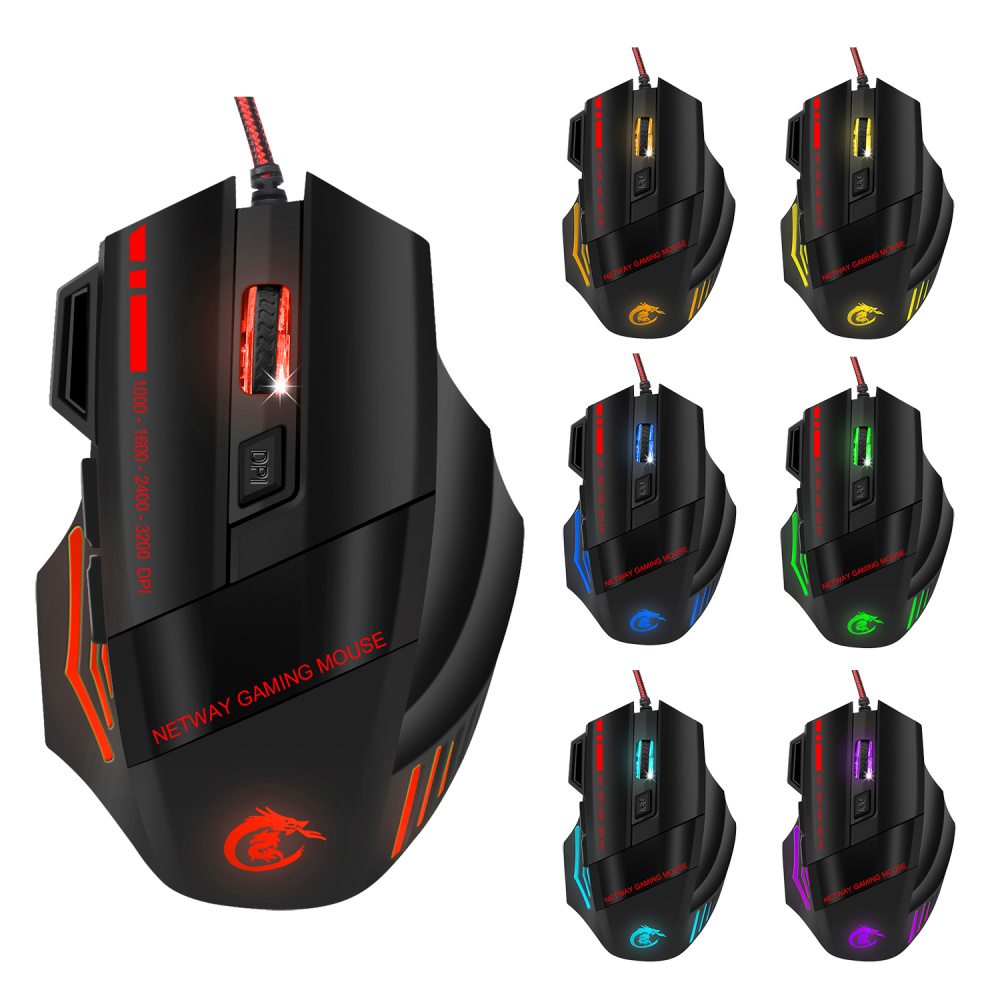 Image 5 - HXSJ A907 Adjustable 5500DPI Professional USB Wired Optical 7 Buttons Self defining Gaming Mouse for Desktop Laptop Netbook-in Mice from Computer & Office