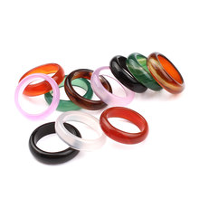 Unisex Natural Ring Multicolor Black Green Red Agates Created Circle Natural Stone Finger Rings charms Christmas gifts(China)