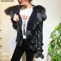 Arlenesain custom 2018 новейшая изготовленная на заказ куртка из натуральной овечьей шерсти с лисьим мехом