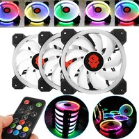 New 3pcs Computer Case PC Cooling Fan RGB Adjust LED 120mm Quiet IR Remote High Quality