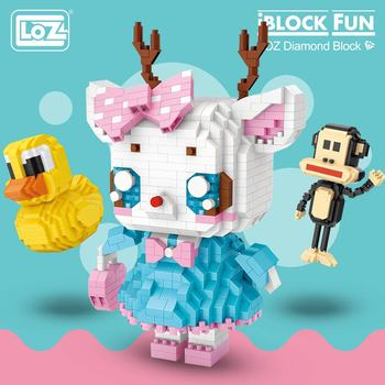 Игрушечные блоки LOZ, Обучающие блоки с рисунками животных из мультфильмов, в виде поросят