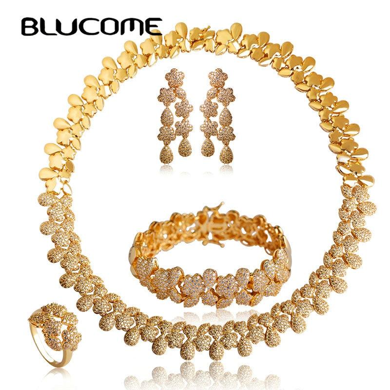 Blucome Cuivre bijoux pour femmes Ensembles Zircon Strass Collier Boucles D'oreilles Anneau ensemble de bracelets Grande Fleur Foulard Pendentif Max Brincos