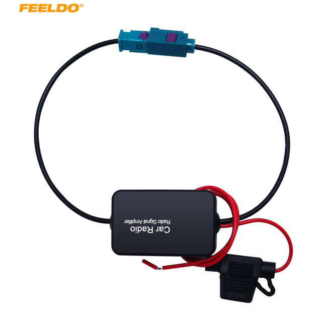 Best Price FEELDO 1Set 12V Car Radio Aerial Antenna Signal Booster Amplifier For Car With FAKRA II Connector  #AM1051