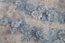 1 piece light blue Lace applique, bead lace applique with 3D flowers,  handmade headpiece appliques