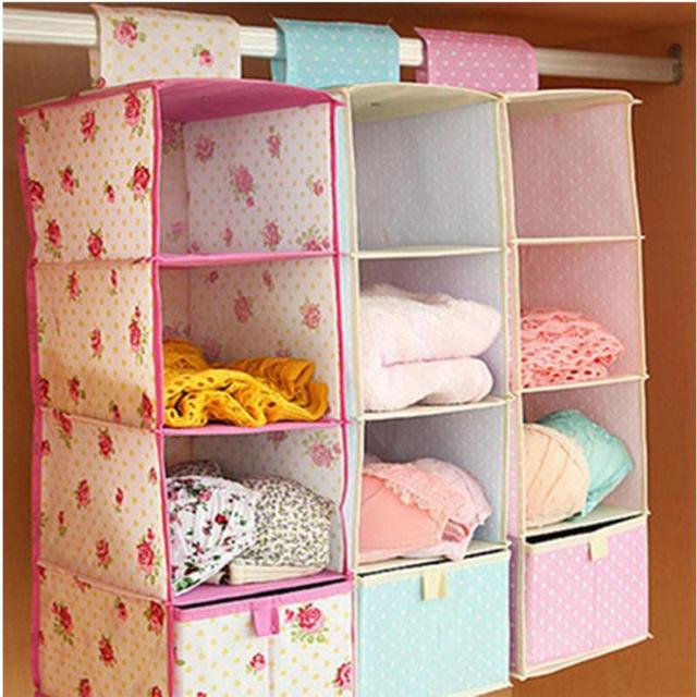 4 Cell Hanging Box Underwear Sorting Clothing Shoe Jeans Storage Mails Door Wall  Closet Organizer Closet