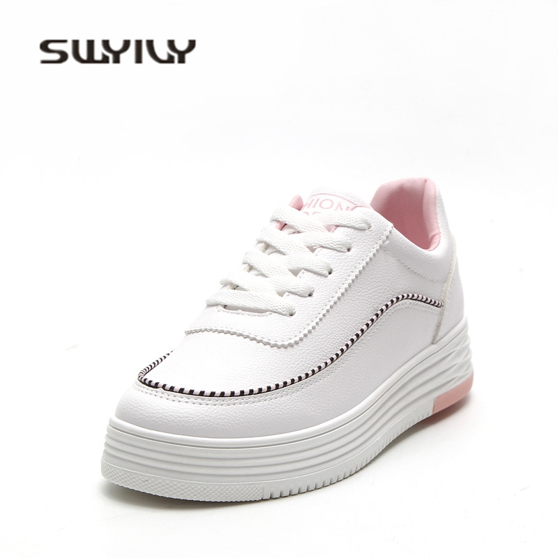 SWYIVY Shoes Woman Sneakers 2018 White Female Casual Shoes Platform 40 Large Size Breathable Woman Canvas Shoes Woman Sneakers