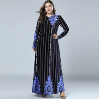 2018 Plus Size Women Winter Velvet Maxi Dresses Floral Stripe Long Sleeve Muslim Dress Women Dubai Abaya Black Robe