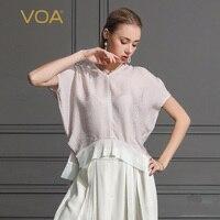 VOA шелк футболка Летняя большой Размеры свободные Для женщин топы с v образным вырезом рукав «летучая мышь» розовый Повседневное Футболка