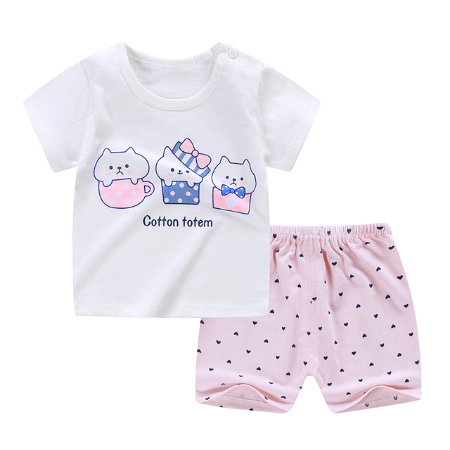 Baby Boy Summer Clothes Set Short Sleeve Cute Cartoon Elephant Print Baby Girl Clothes Set Summer Infant Clothes For Babies